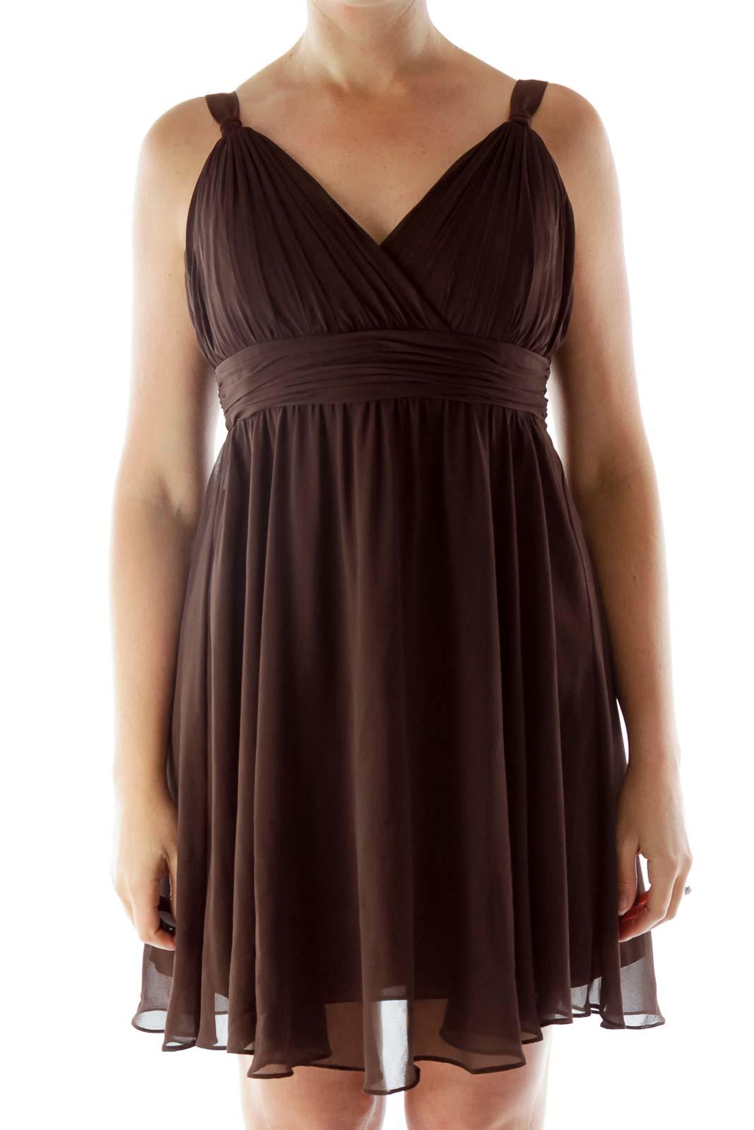 Brown V-Neck Chiffon Dress Front