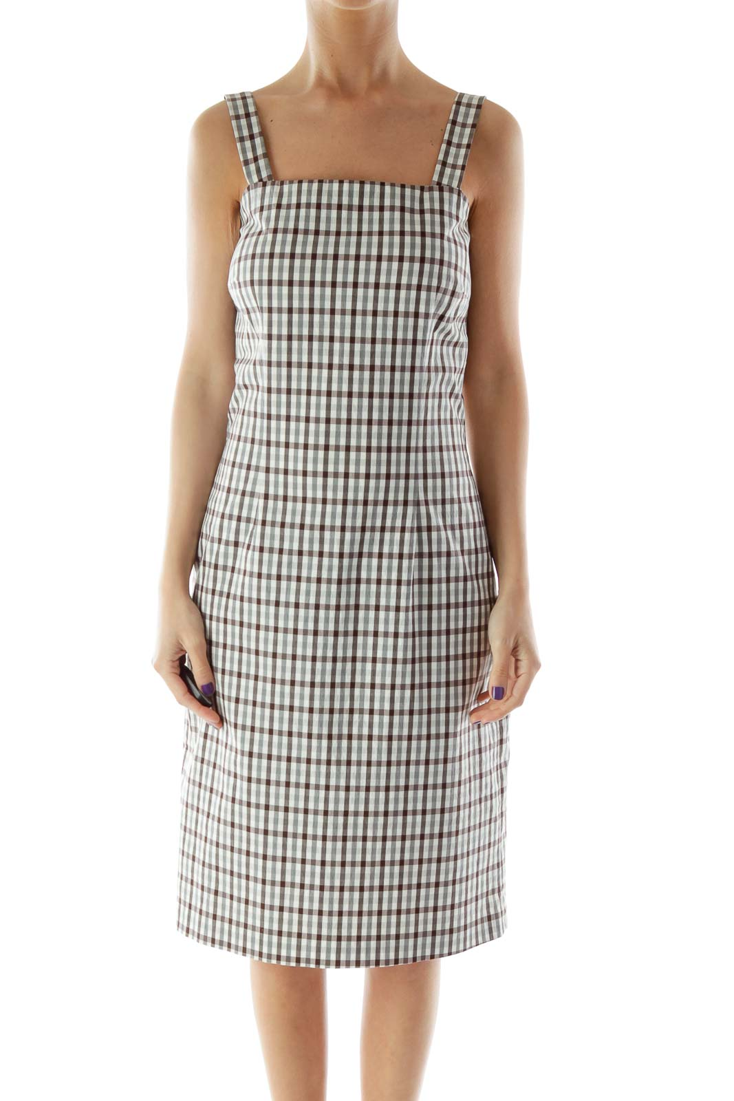 Beige and Brown Gingham Fitted Dress Front