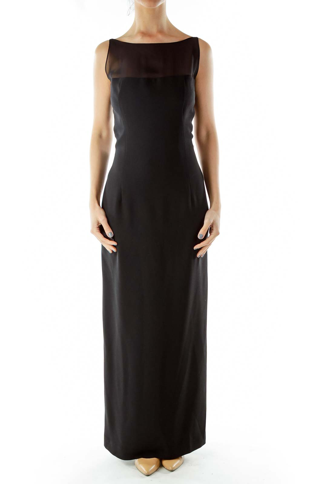 Black Evening Gown with Sheer Detail Front