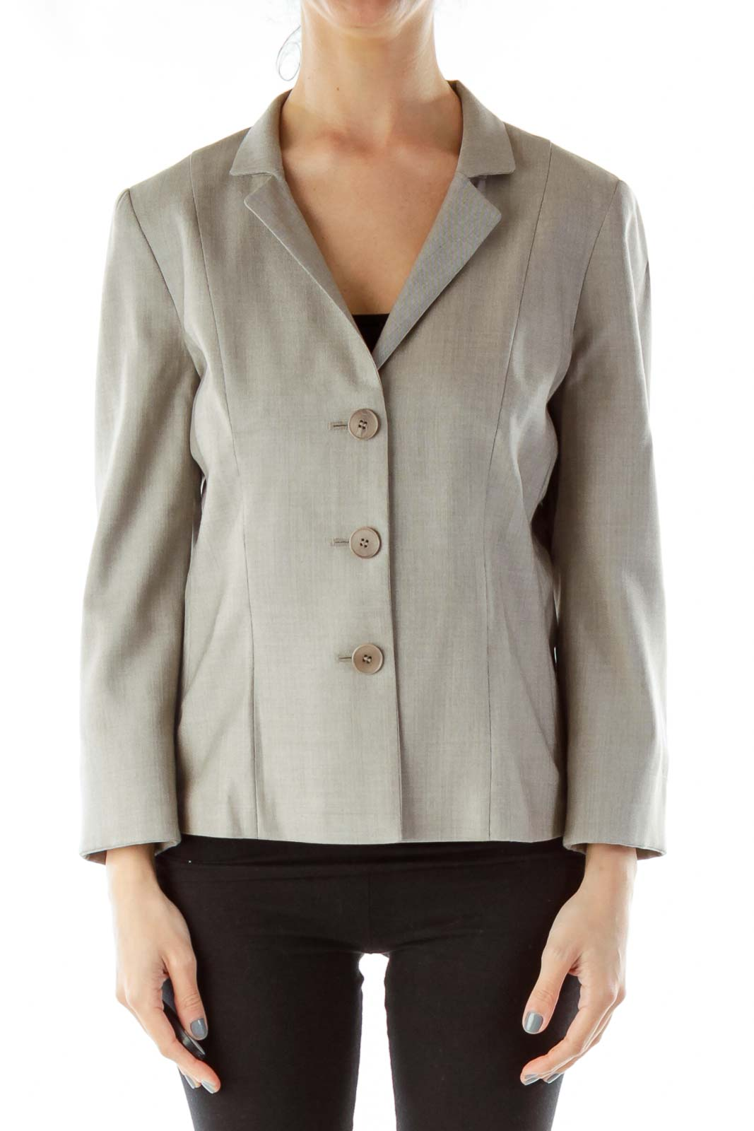 Gray Single-Breasted Suit Jacket Front