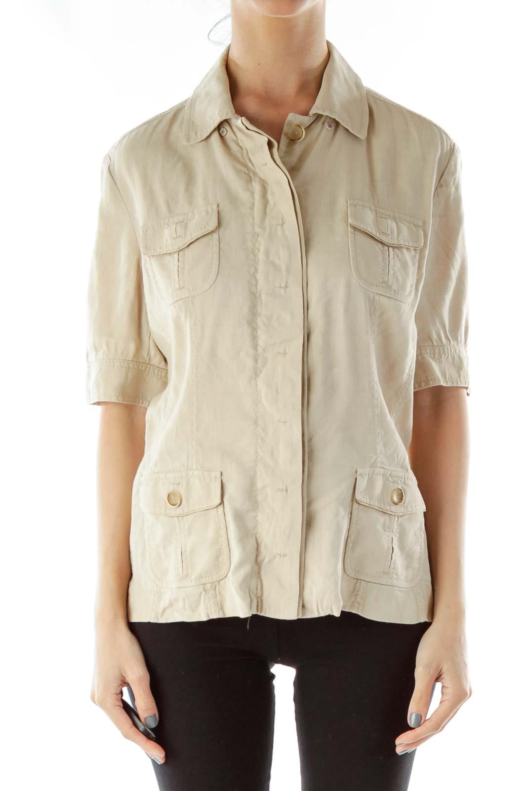 Beige Safari Shirt Front