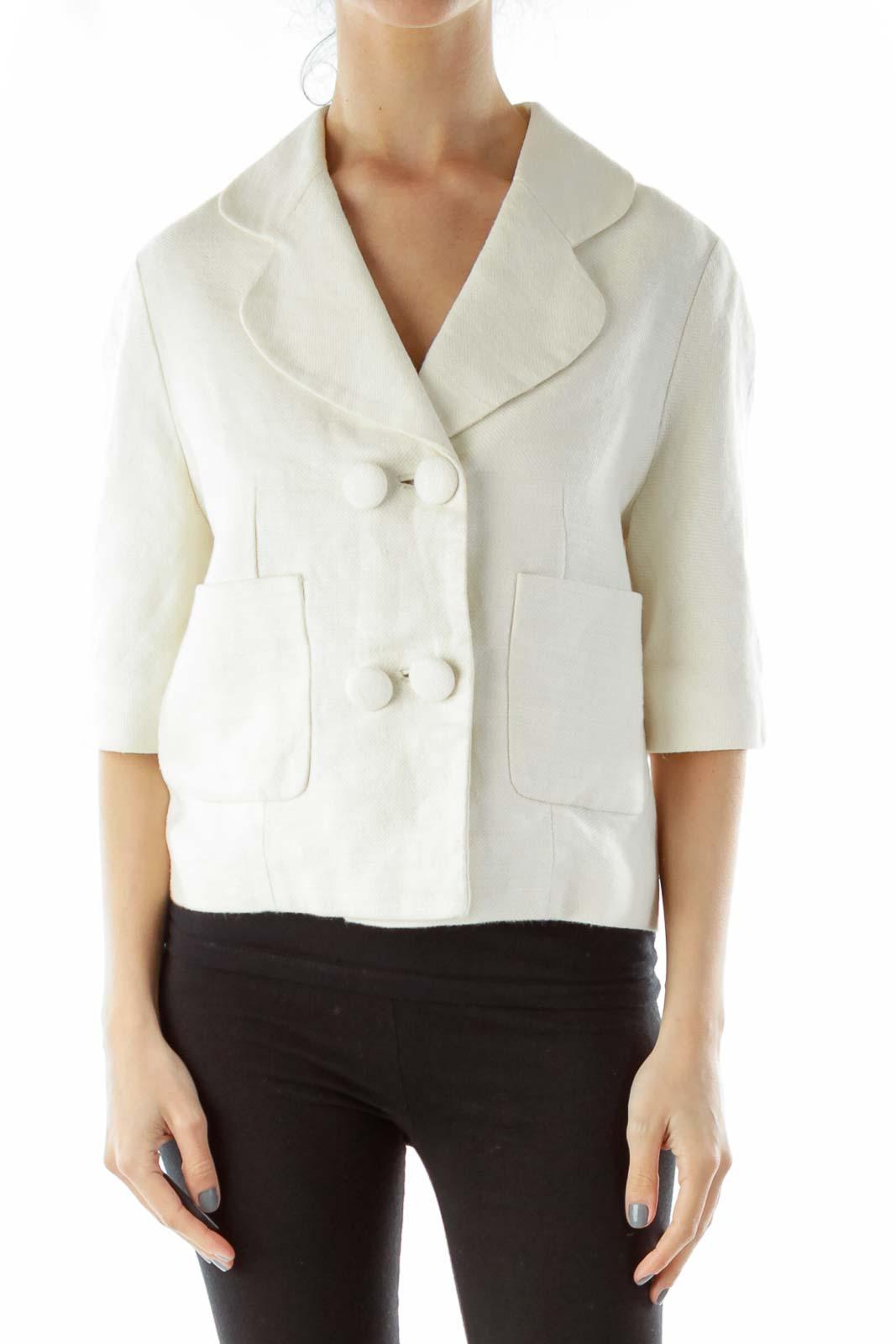 Cream Linen Blazer Front
