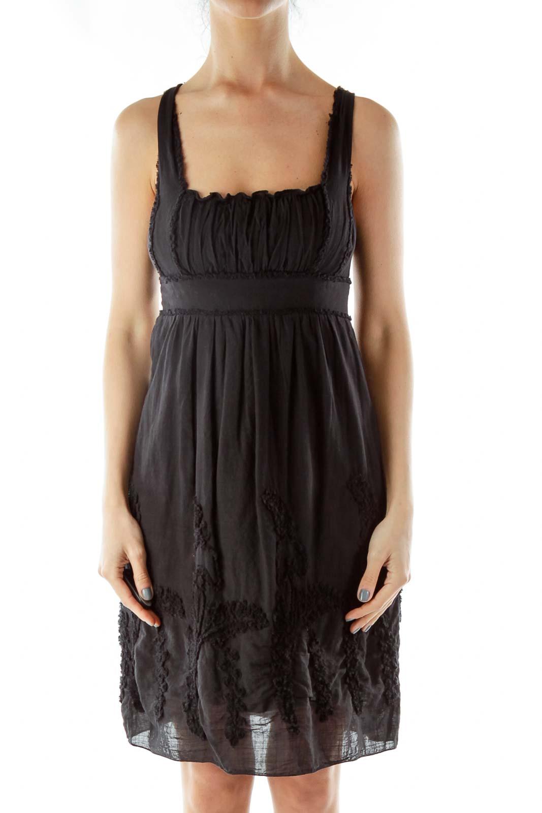 Black Scrunched Dress Front