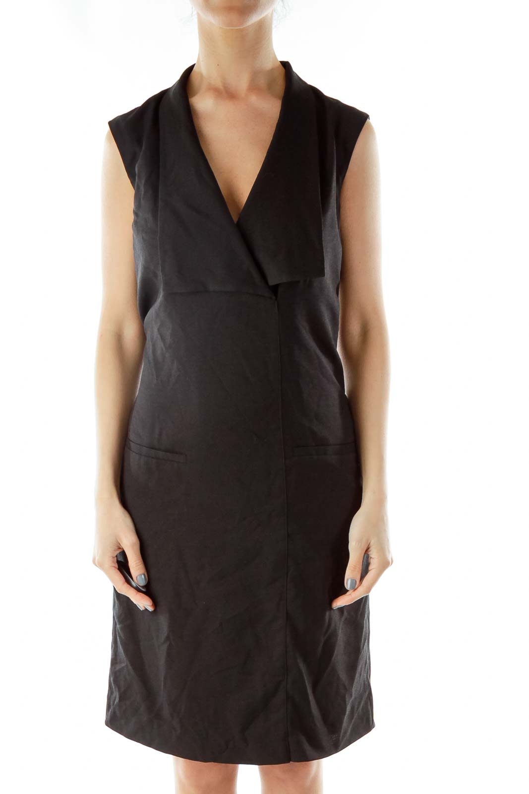 Black Work Dress with Collar Front
