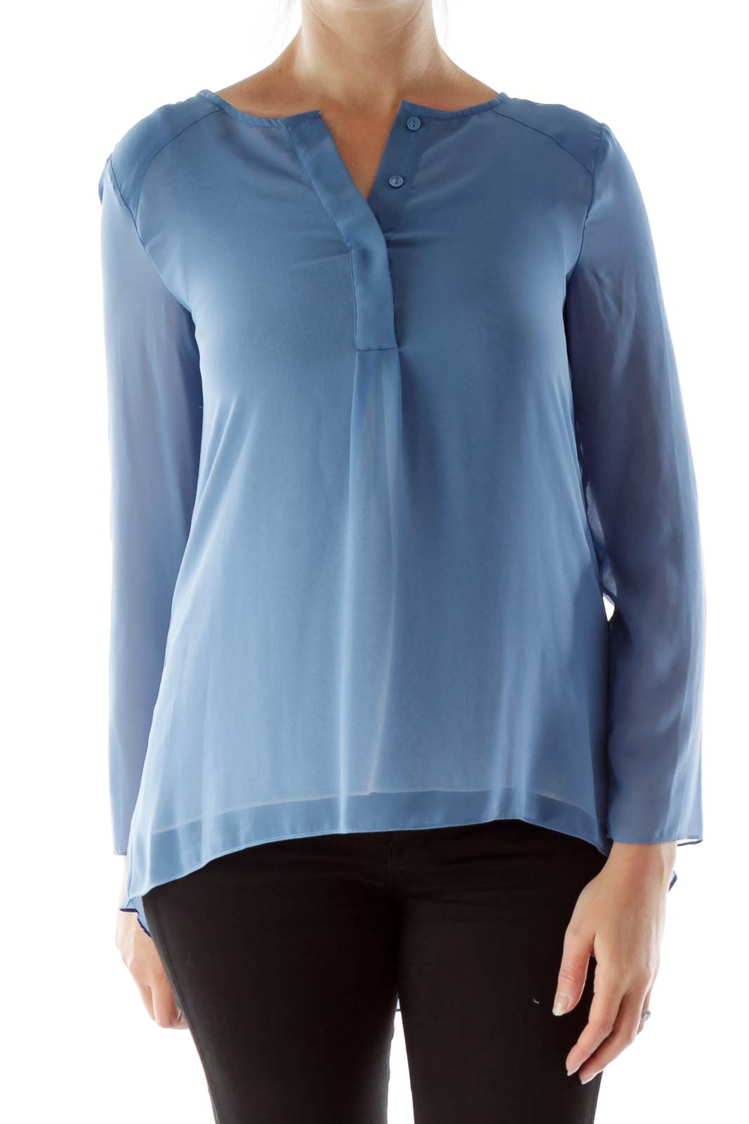 Blue Buttoned Chiffon Blouse Front