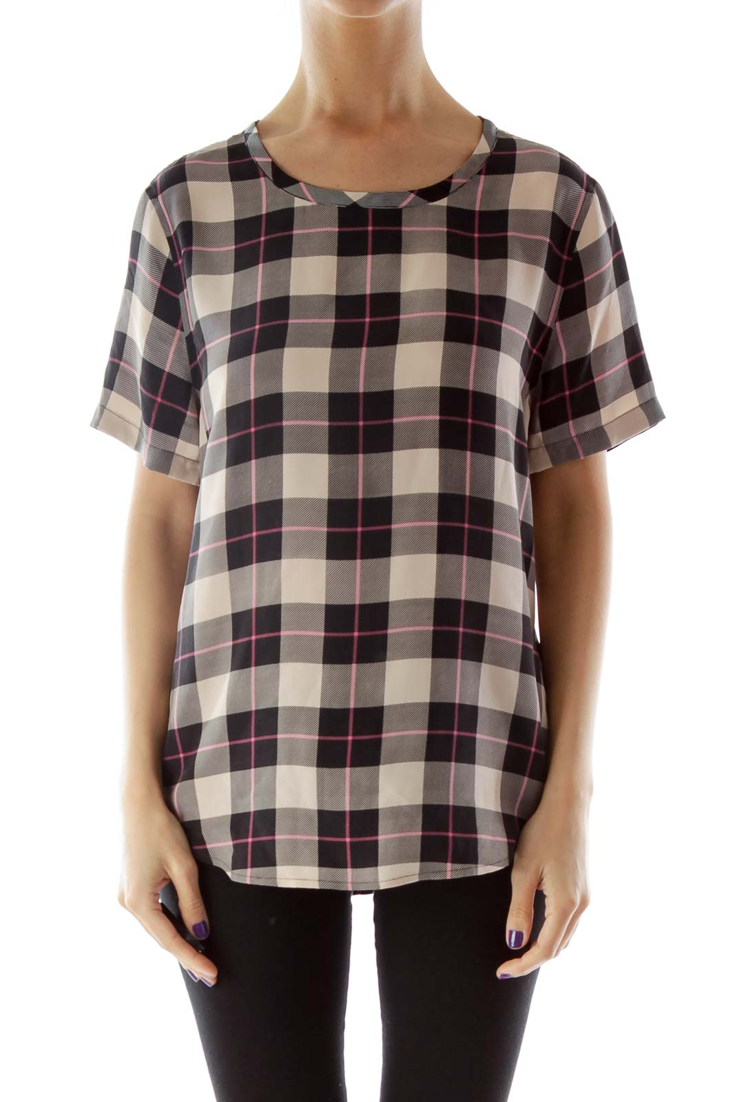 Black and Beige Plaid Silk Blouse Front