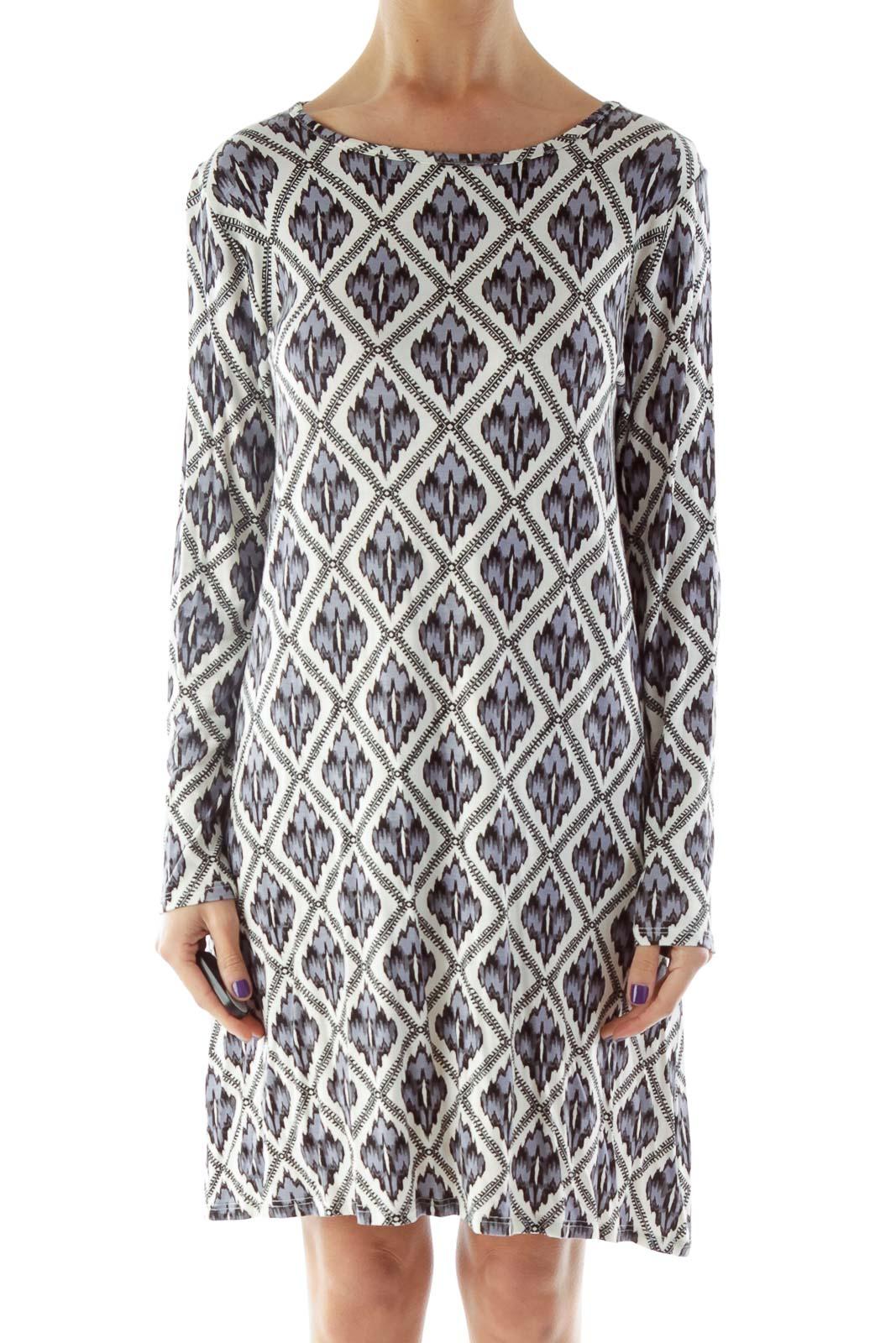 Blue Black White Printed Dress Front