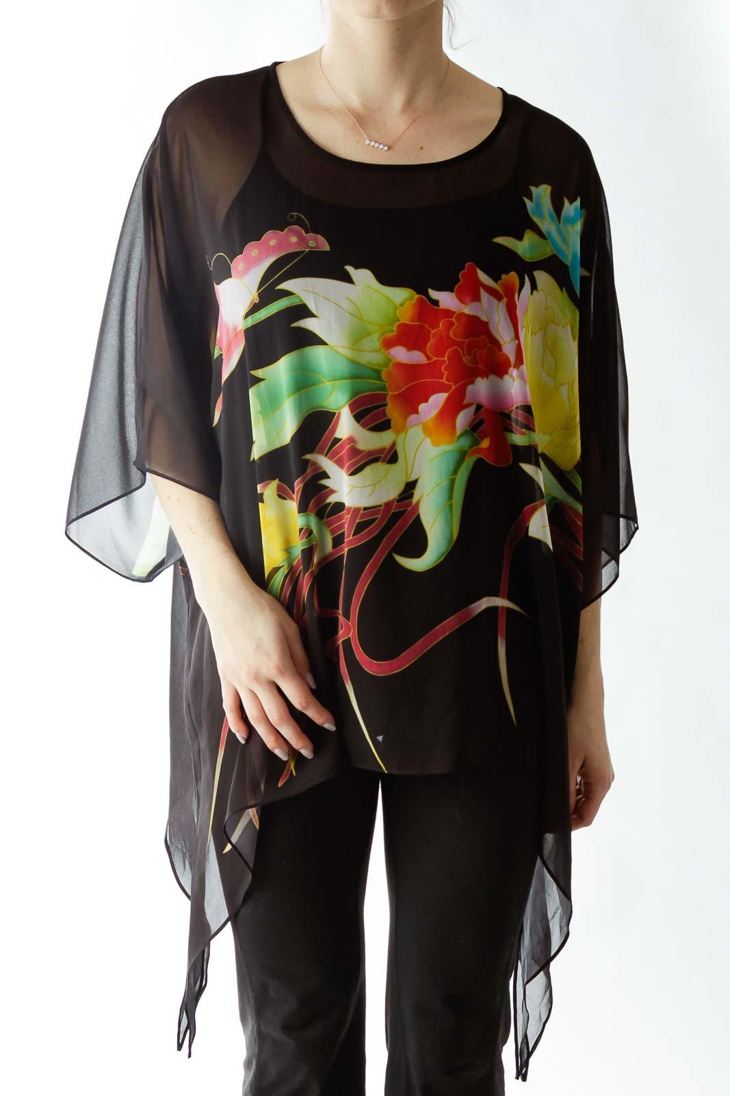 Black Flower Print Sheer Blouse Front