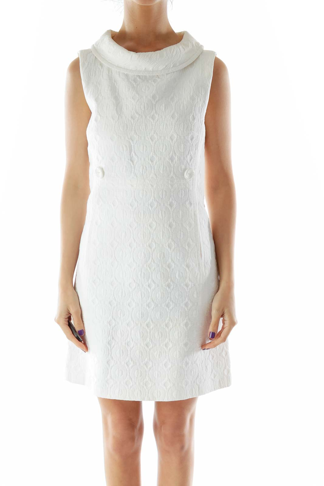 Off White Textured Work Dress Front