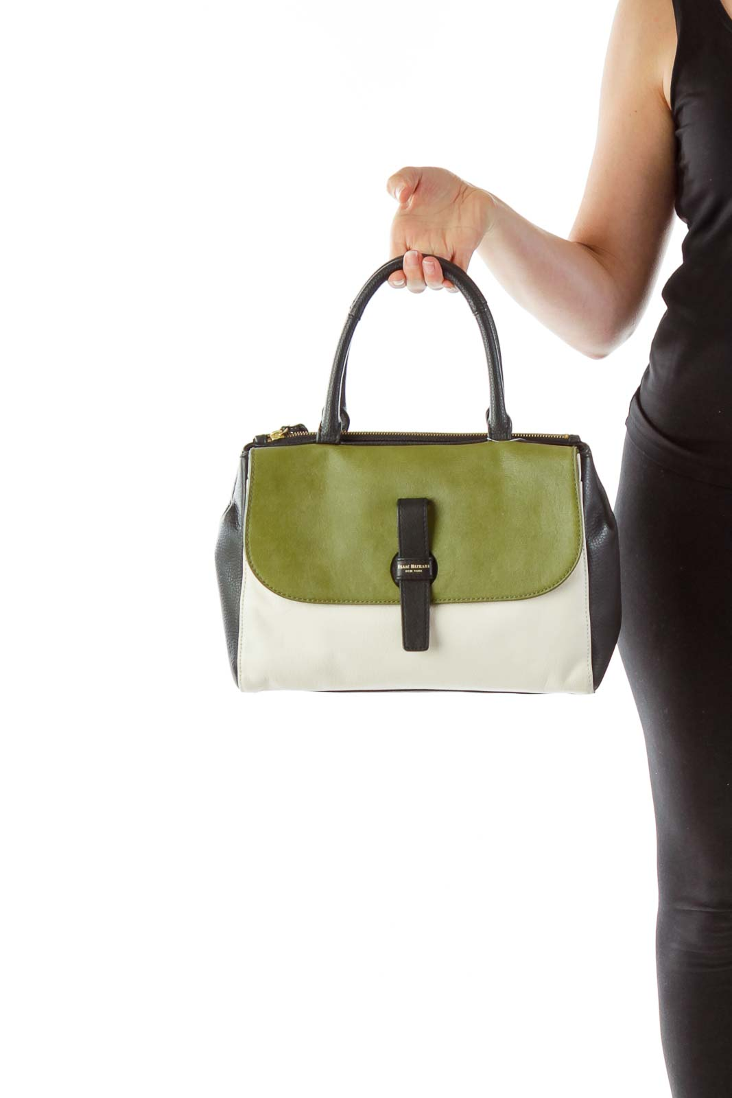 Olive Cream Black Hand Bag Front