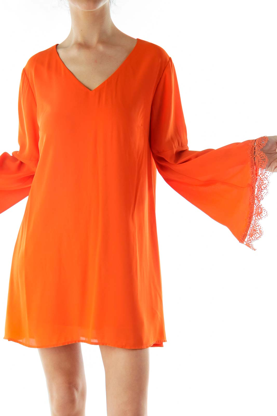 Orange Loose Blouse with Lace Edging Front
