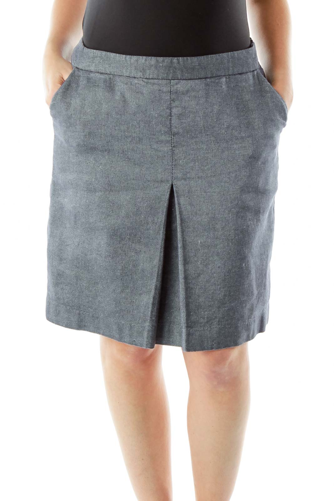 Navy Pencil Skirt Front