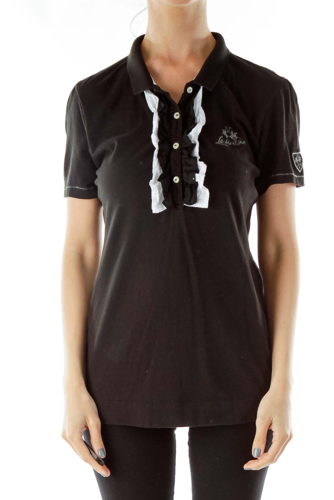 Black White Buttoned Embroidered Polo Shirt Front