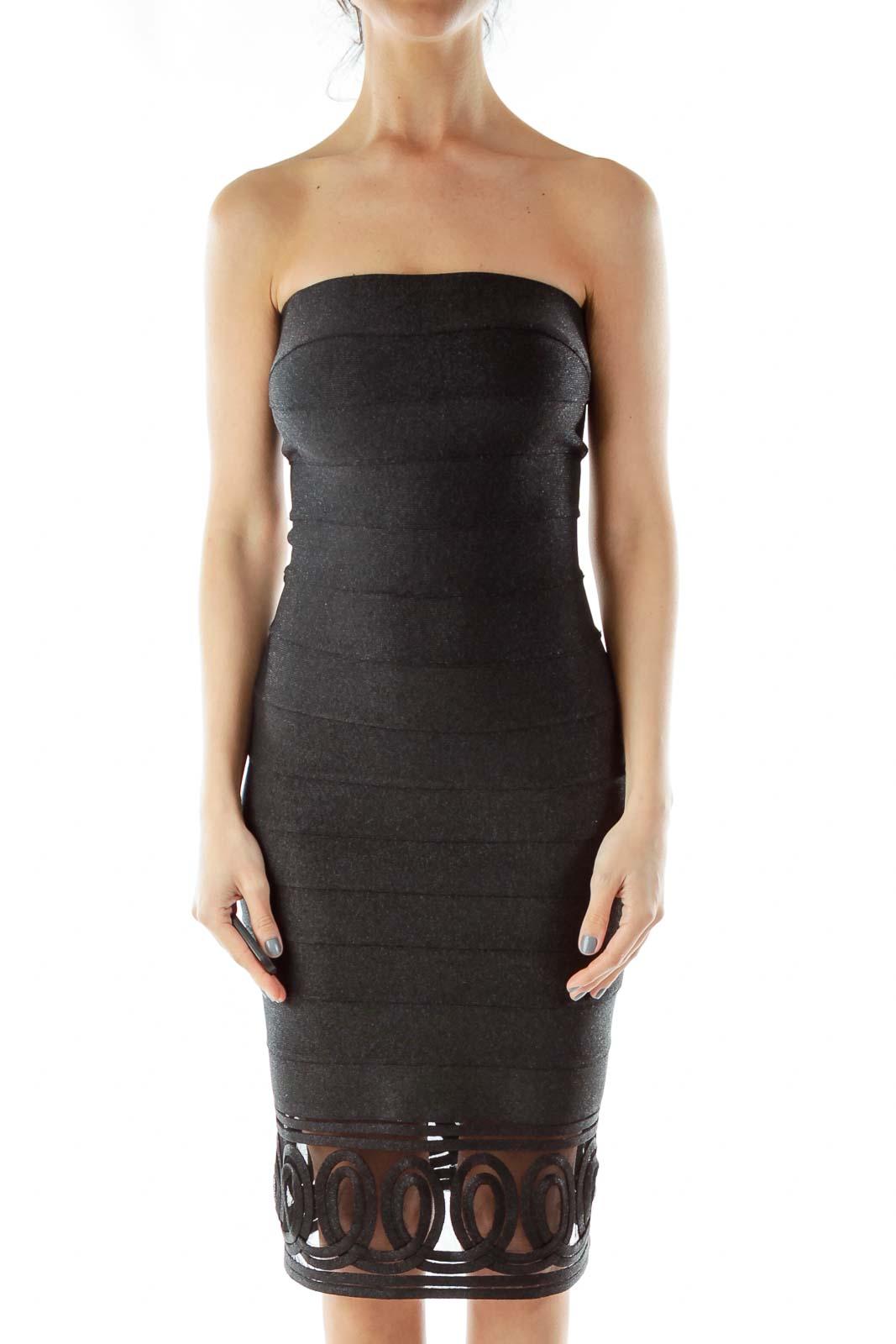 Black Metallic Bodycon Dress Front