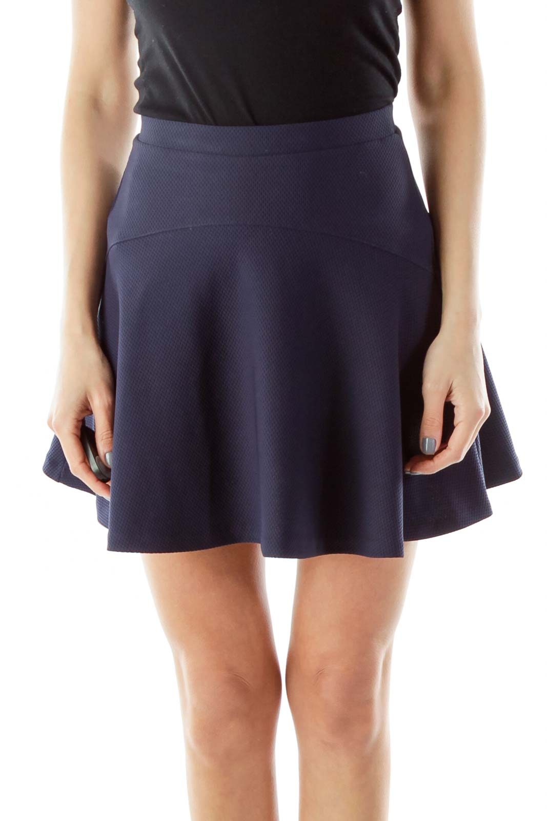 Black Flared Skirt with Hole Details Front