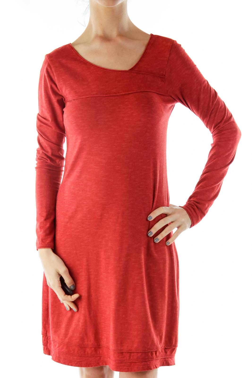 Red A-Line T-Shirt Dress Front