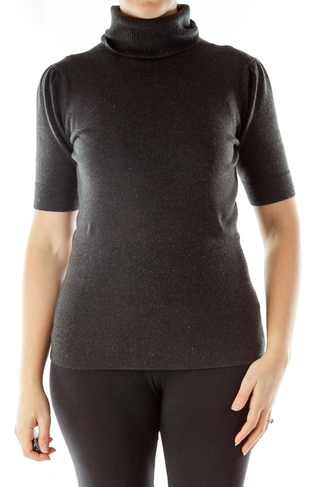 Gray Turtleneck Sweater Front
