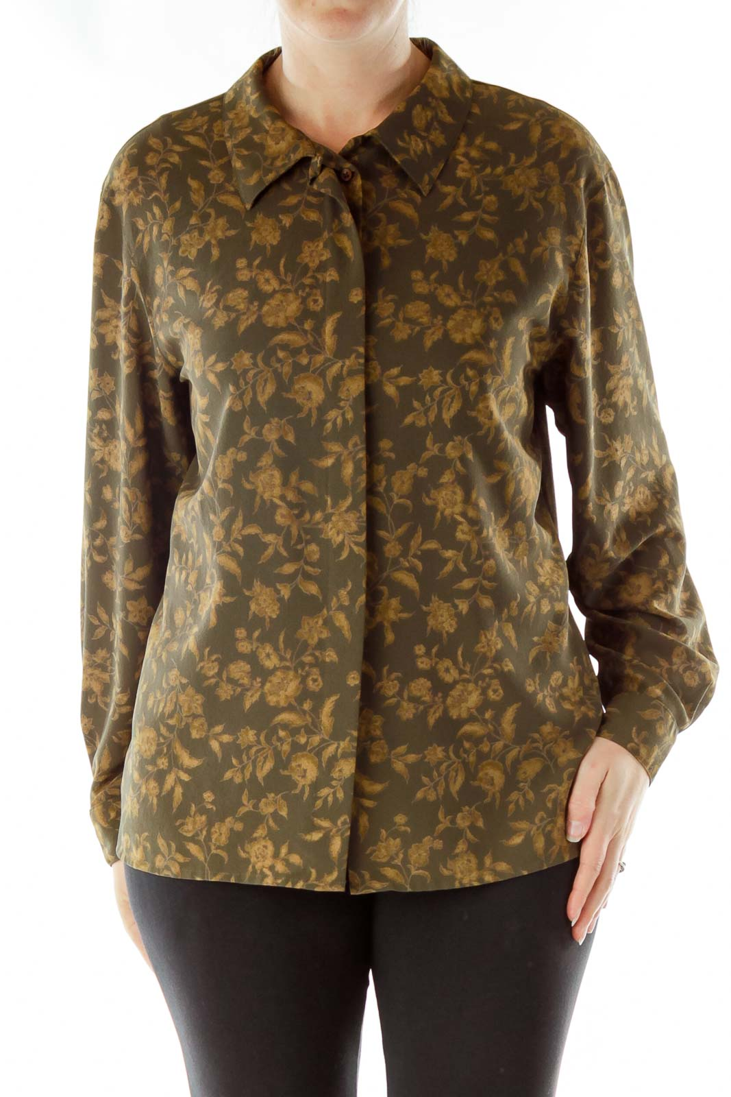 Green Gold Floral Print Blouse Front
