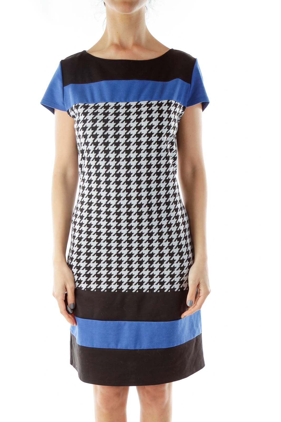 Black White Blue Houndstooth Dress Front
