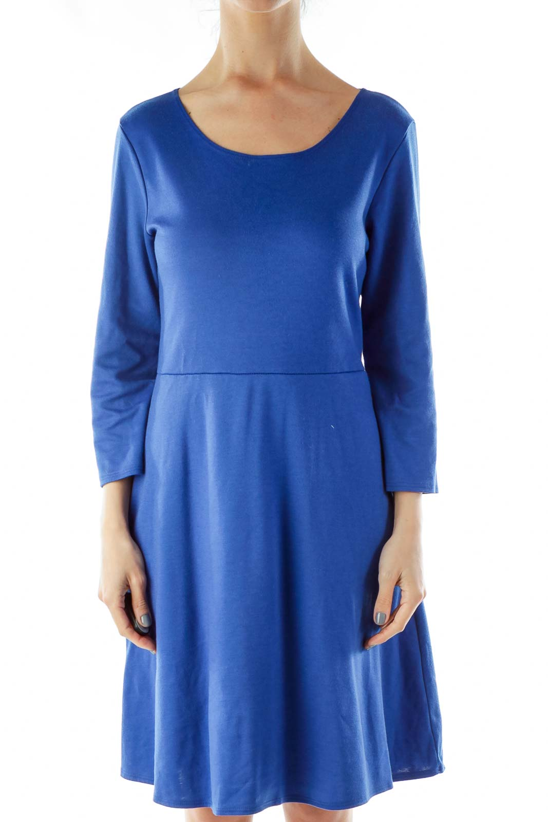 Blue A-Line Work Dress Front