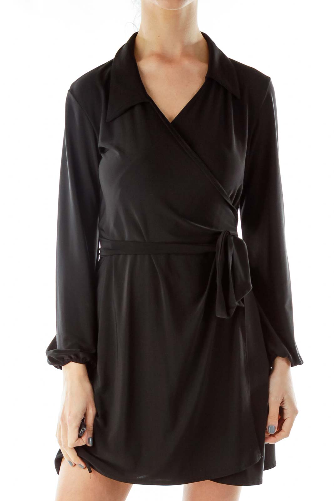 Black Wrap Work Dress Front