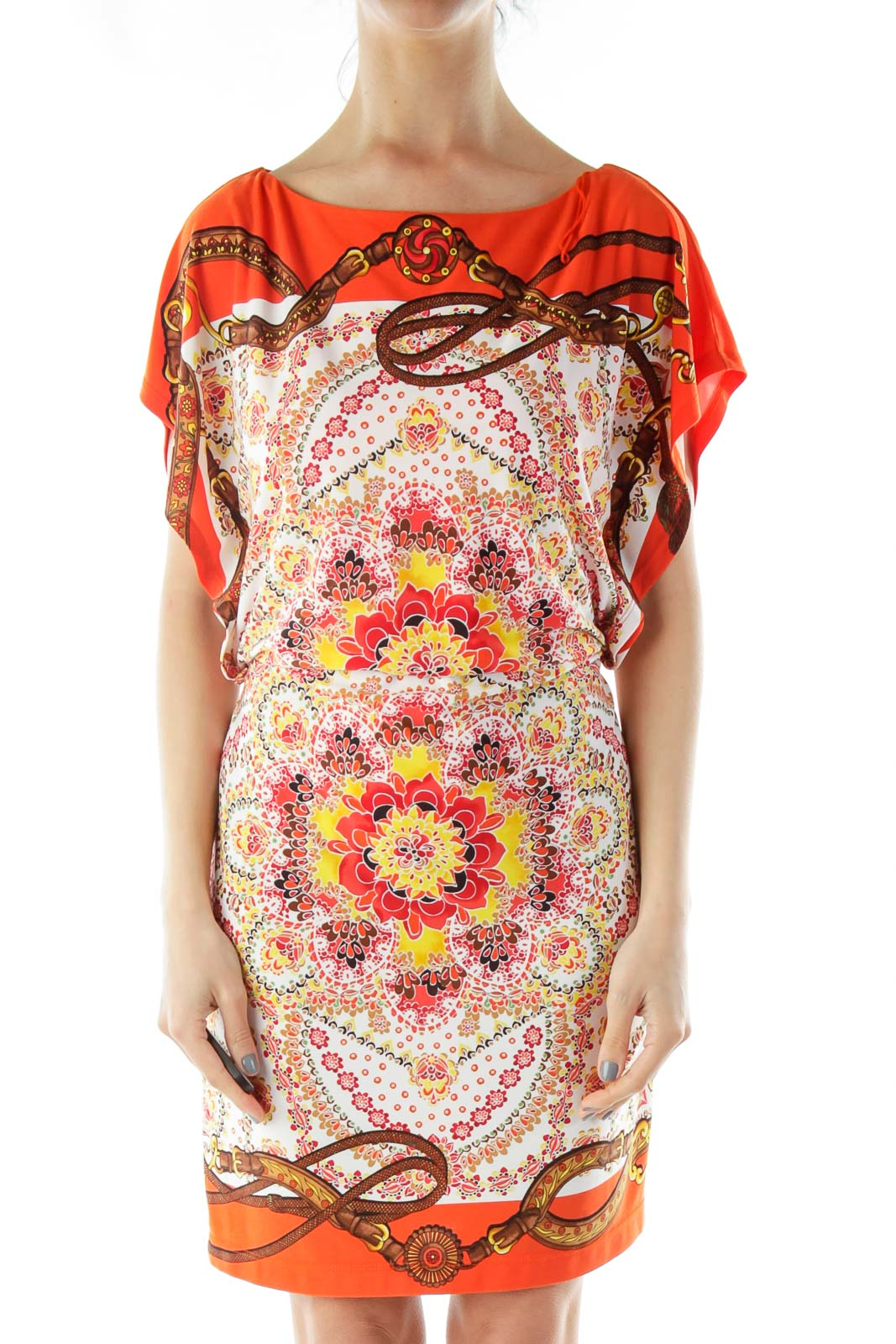 Orange Flower Print Dress Front