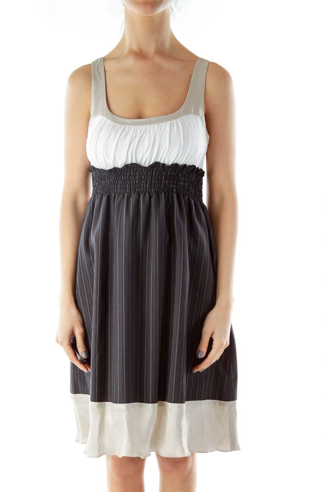 Blue Gray Pinstripe Dress Front