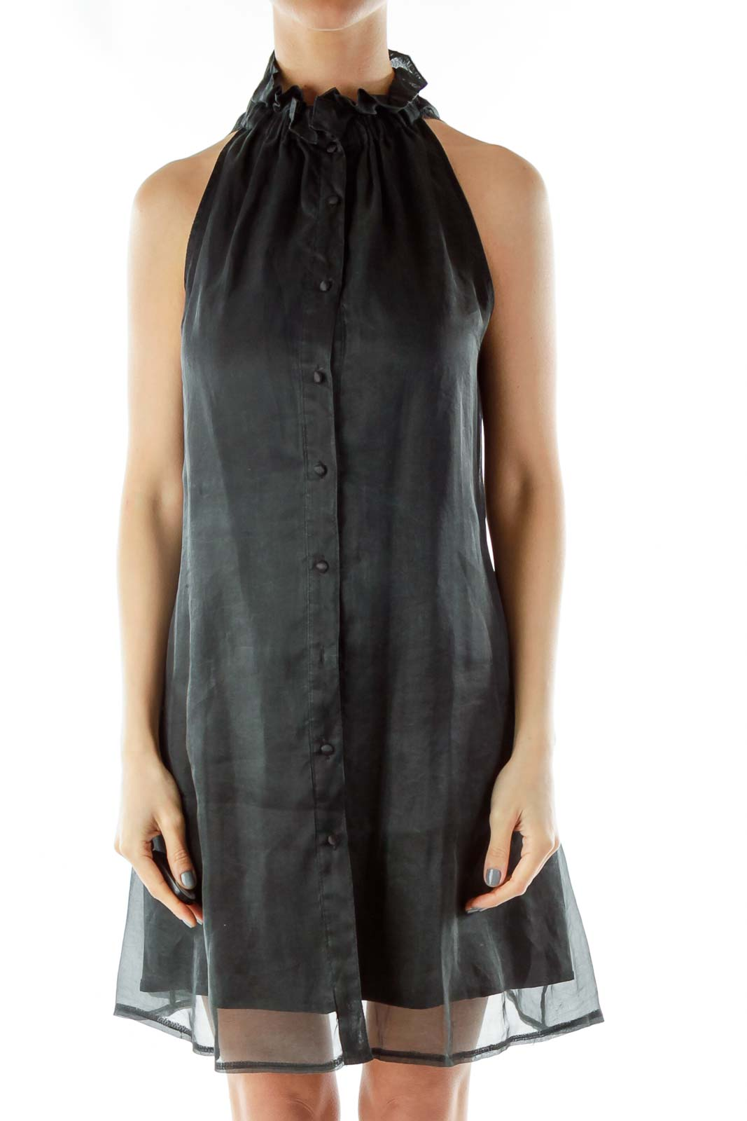 Black Silk Tent Dress Front