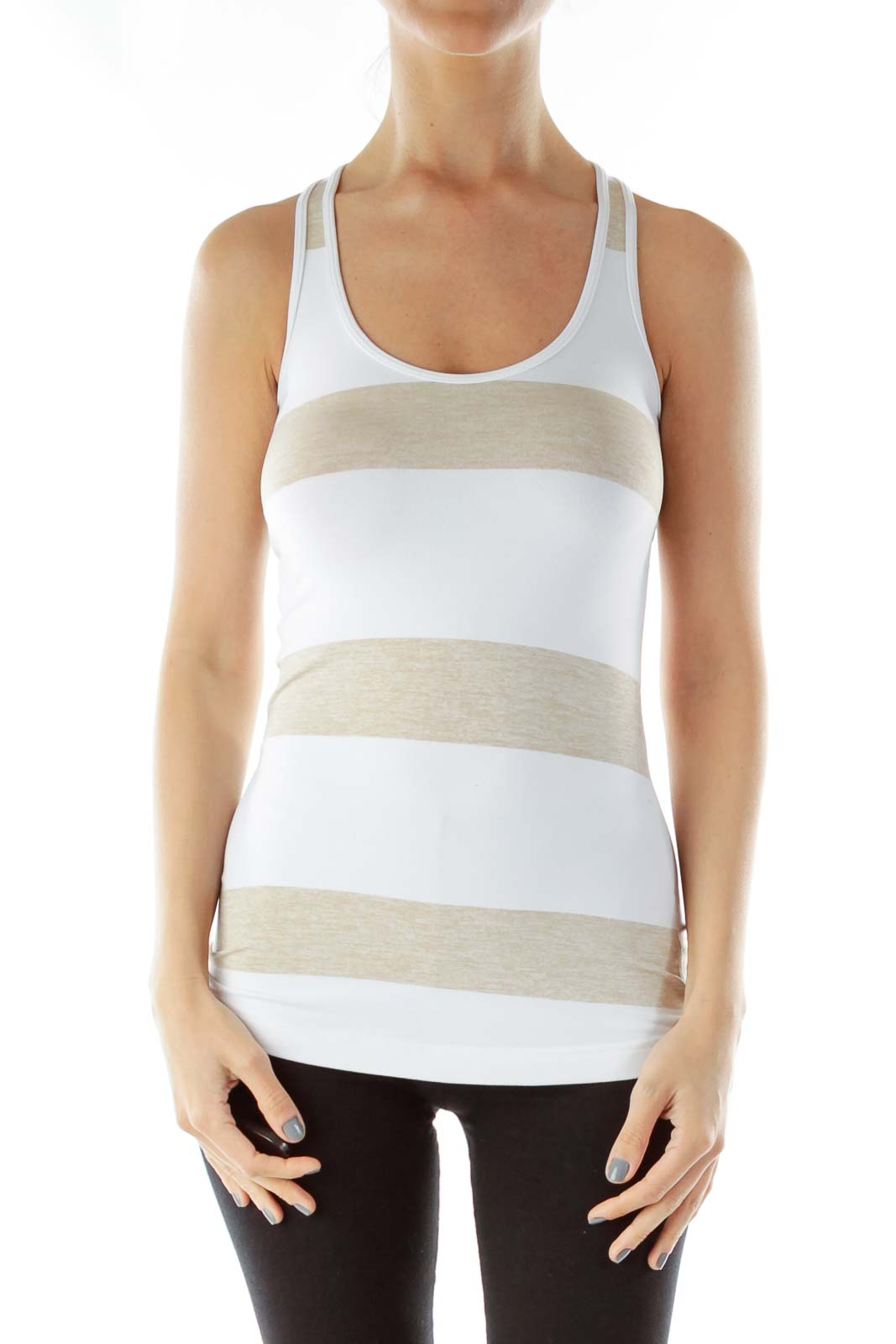 White Brown Yoga Tank Top Front