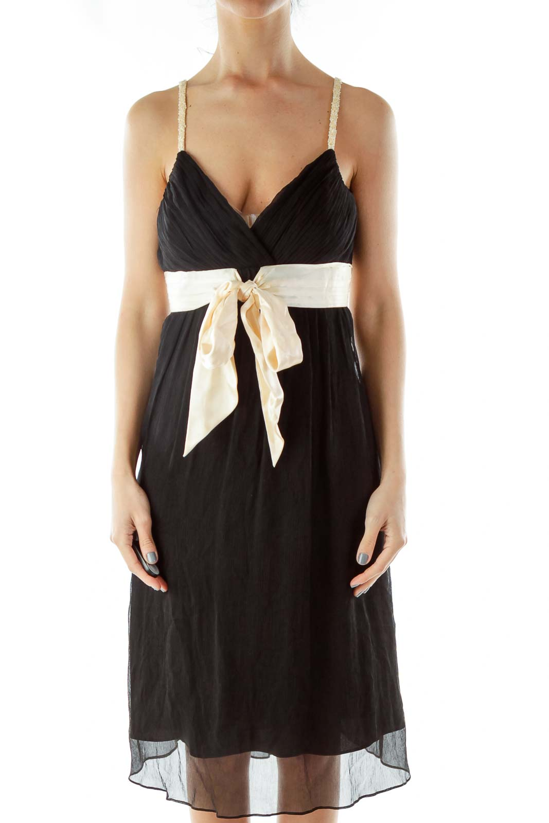 Black Beige Evening Dress Front
