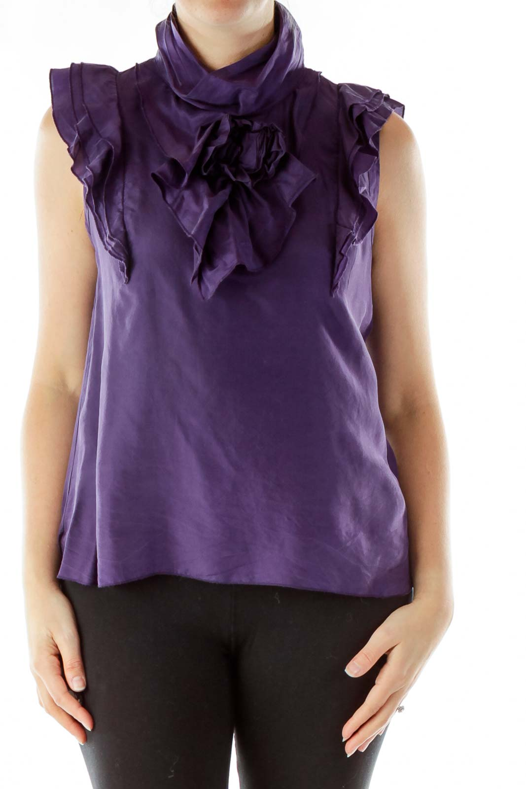 Purple Ruffled Blouse Front