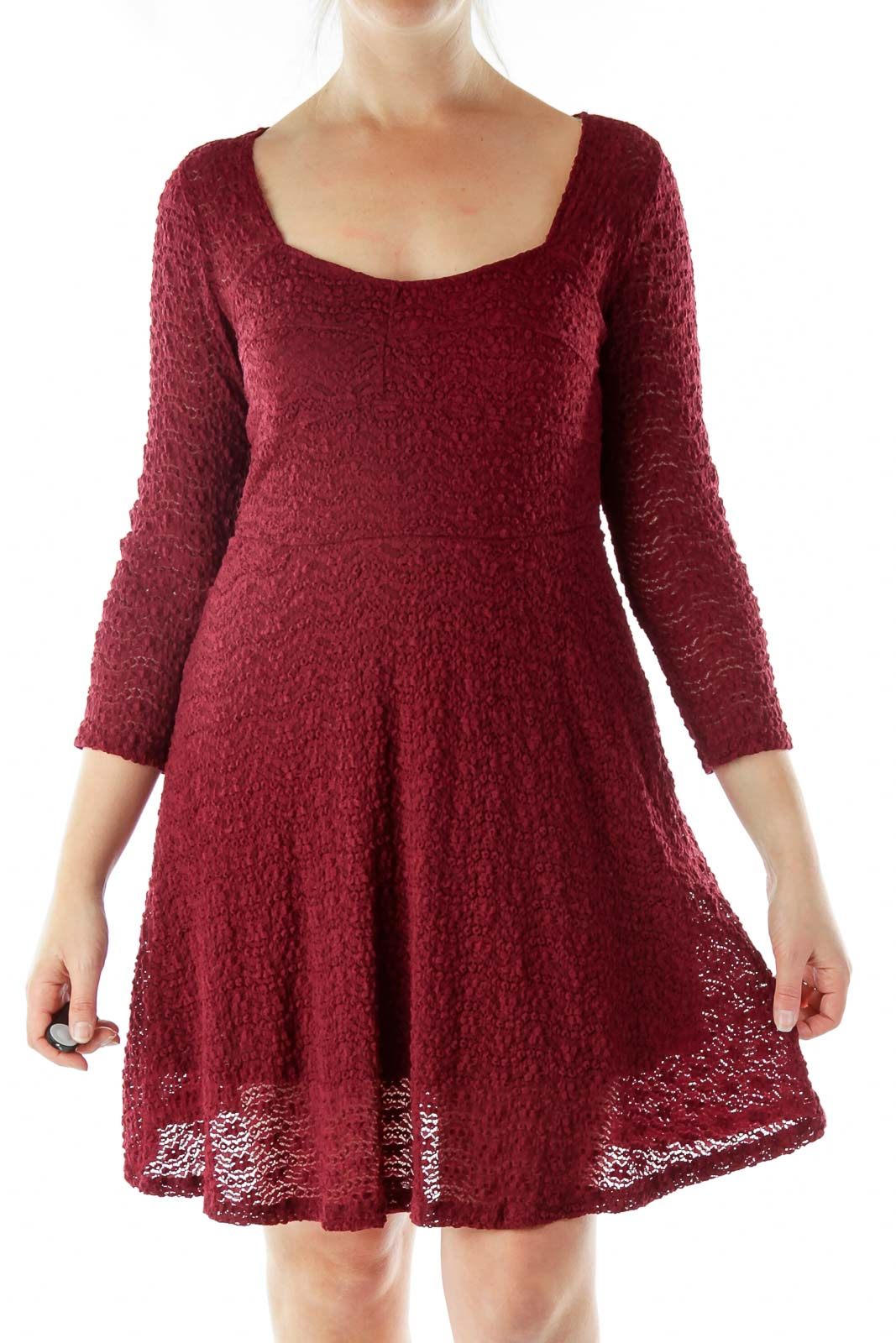 Maroon Lace Cocktail Dress Front