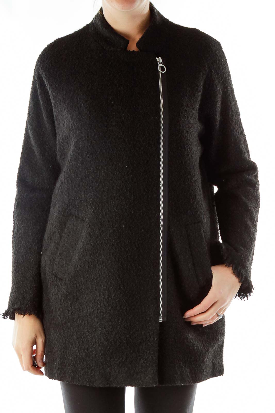 Black Zippered Coat Front