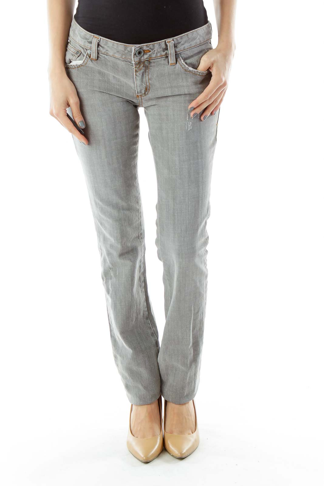 Gray Distressed Skinny Jeans Front