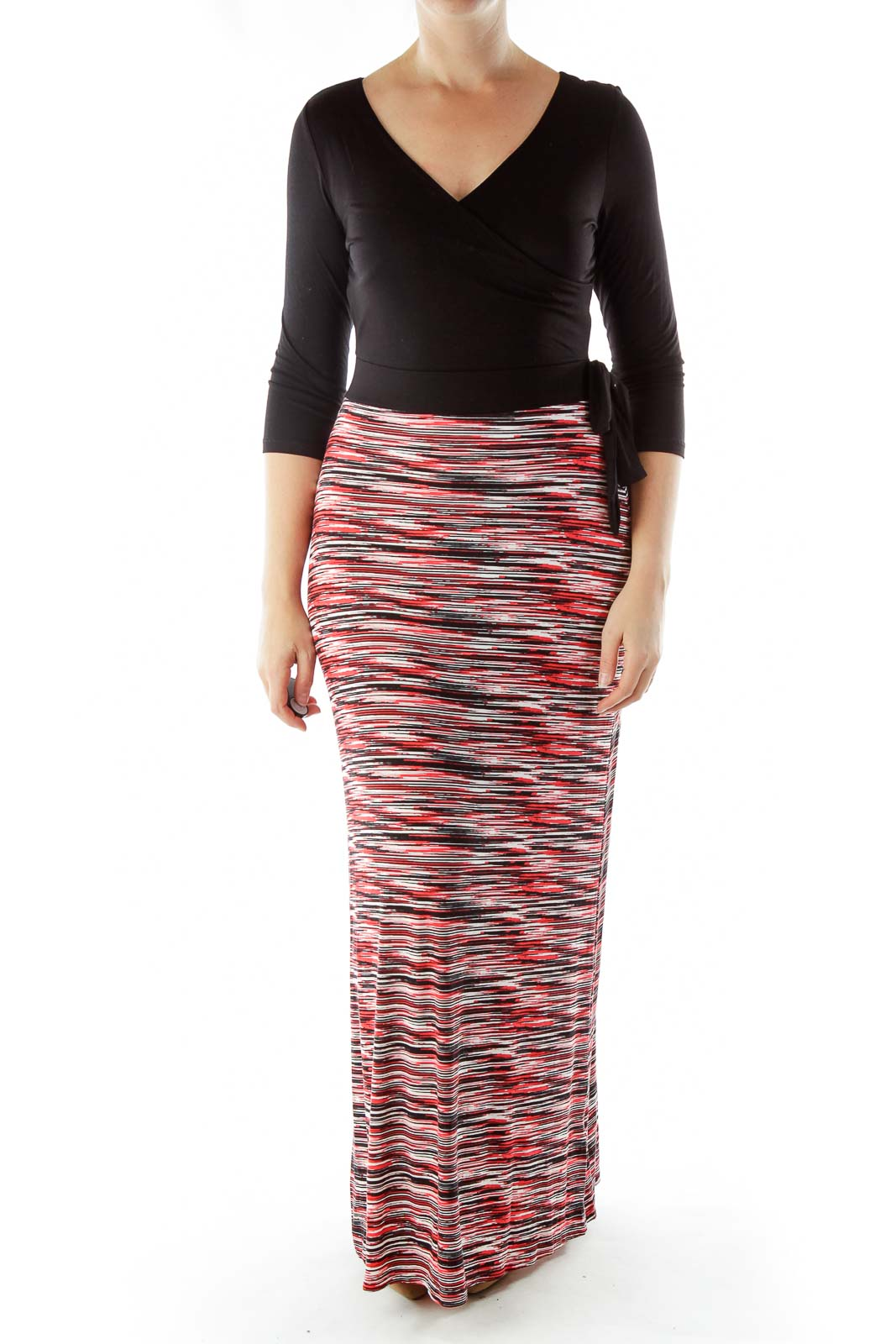 Black Red Long Sleeve Maxi Dress Front