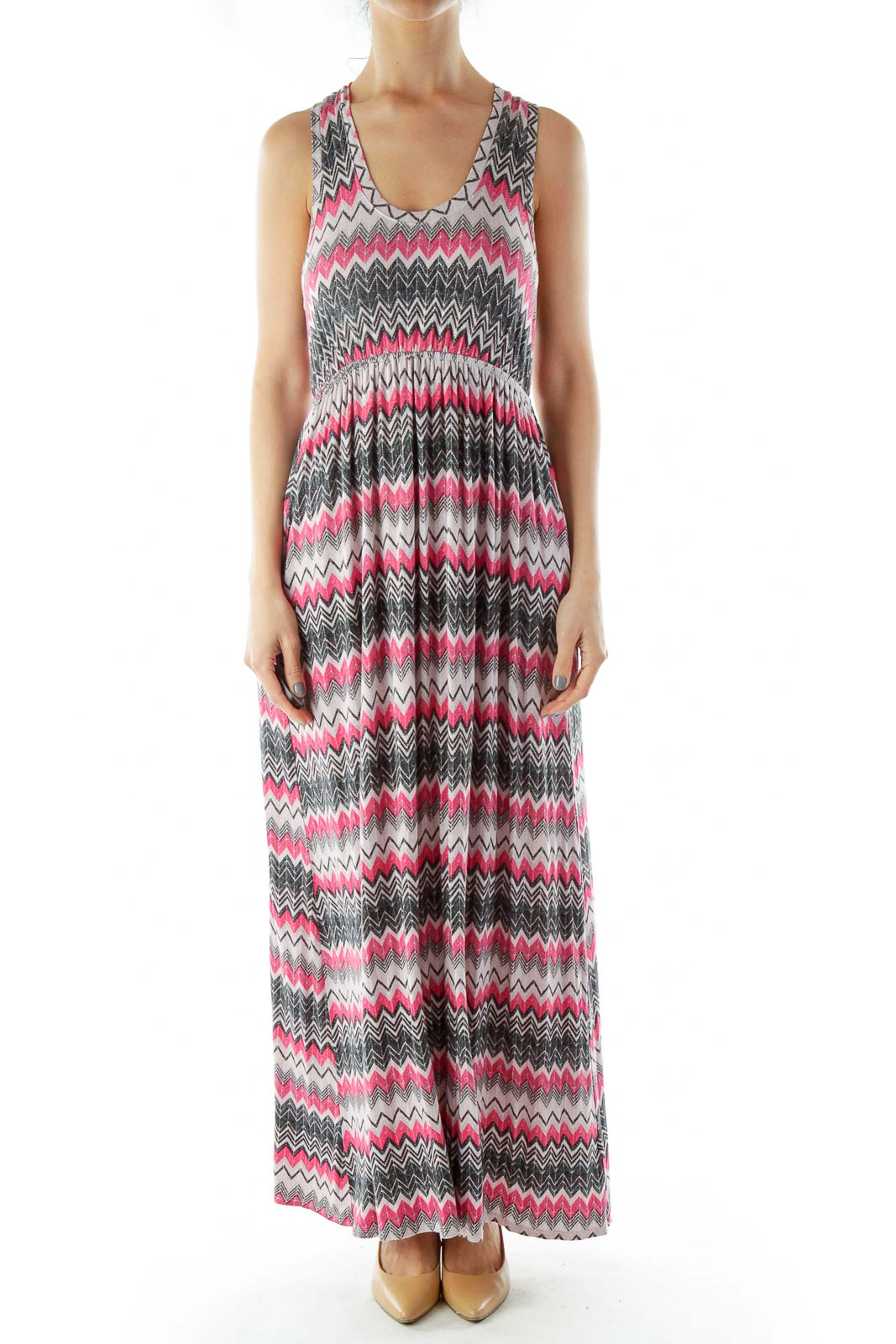 Pink Black ZigZag Maxi Dress Front