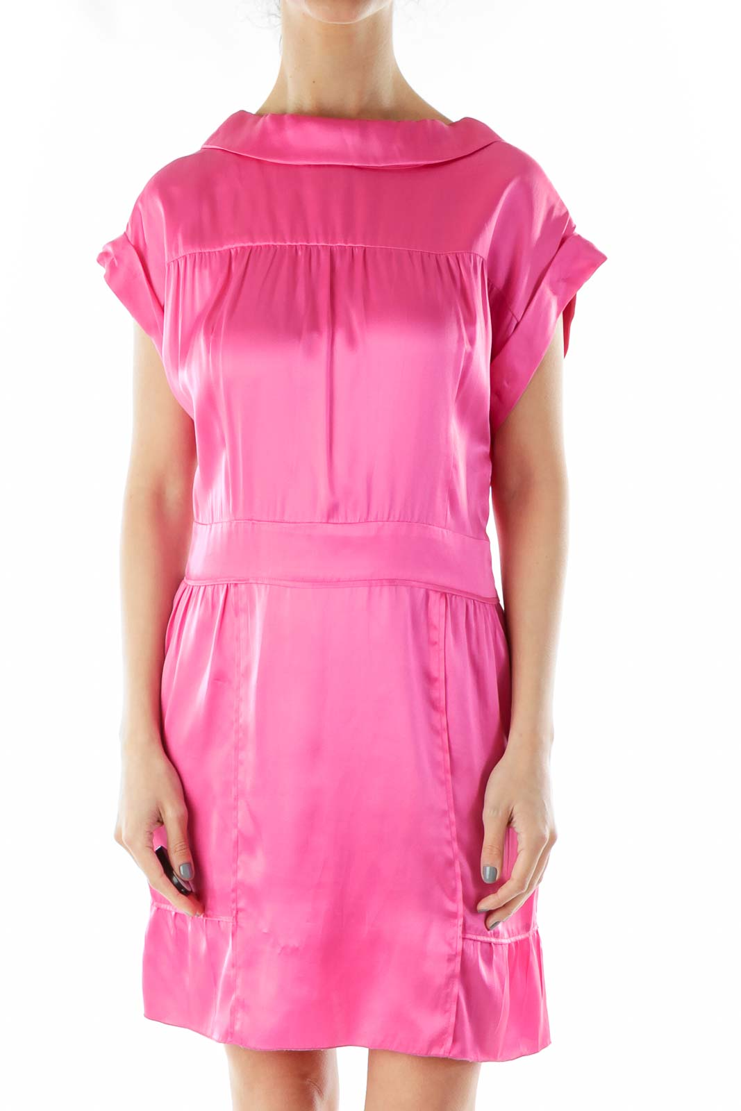 Pink Silk Cocktail Dress with Button Down Back Front