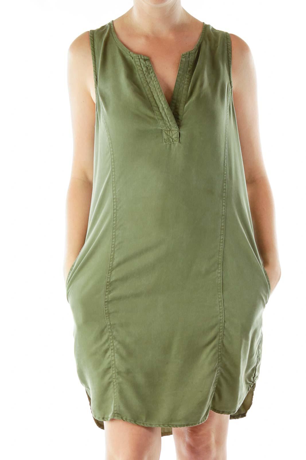 Green Denim Shift Dress Front