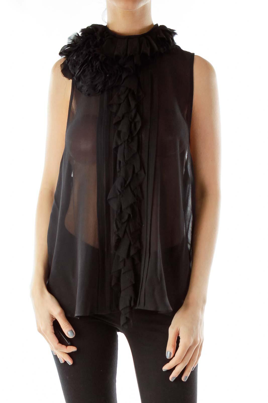 Black Sheer Sleeveless Blouse Front