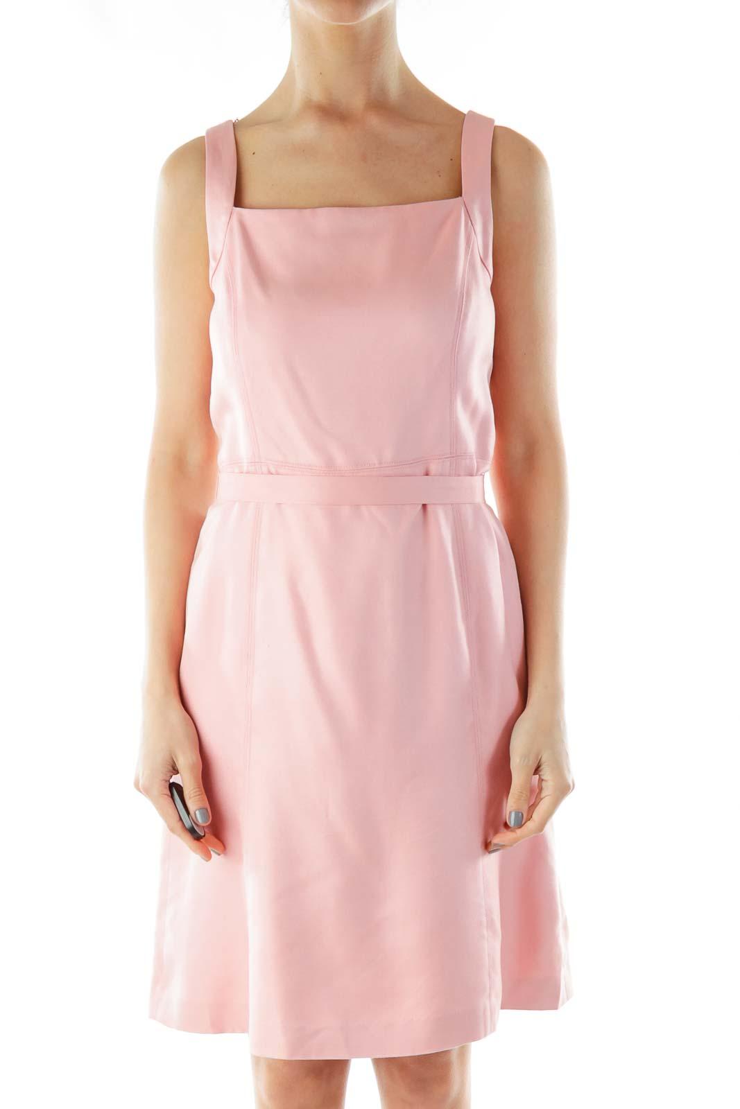 Pink Silk Apron Dress Front