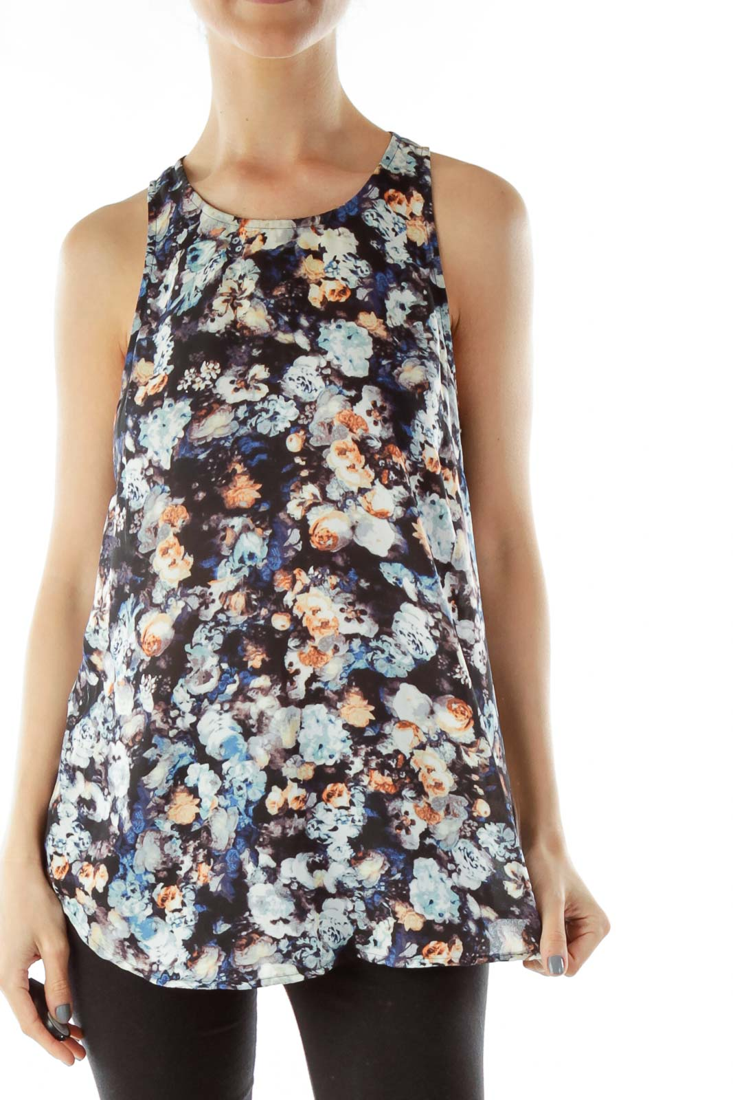 Blue Floral Sleeveless  Blouse Front
