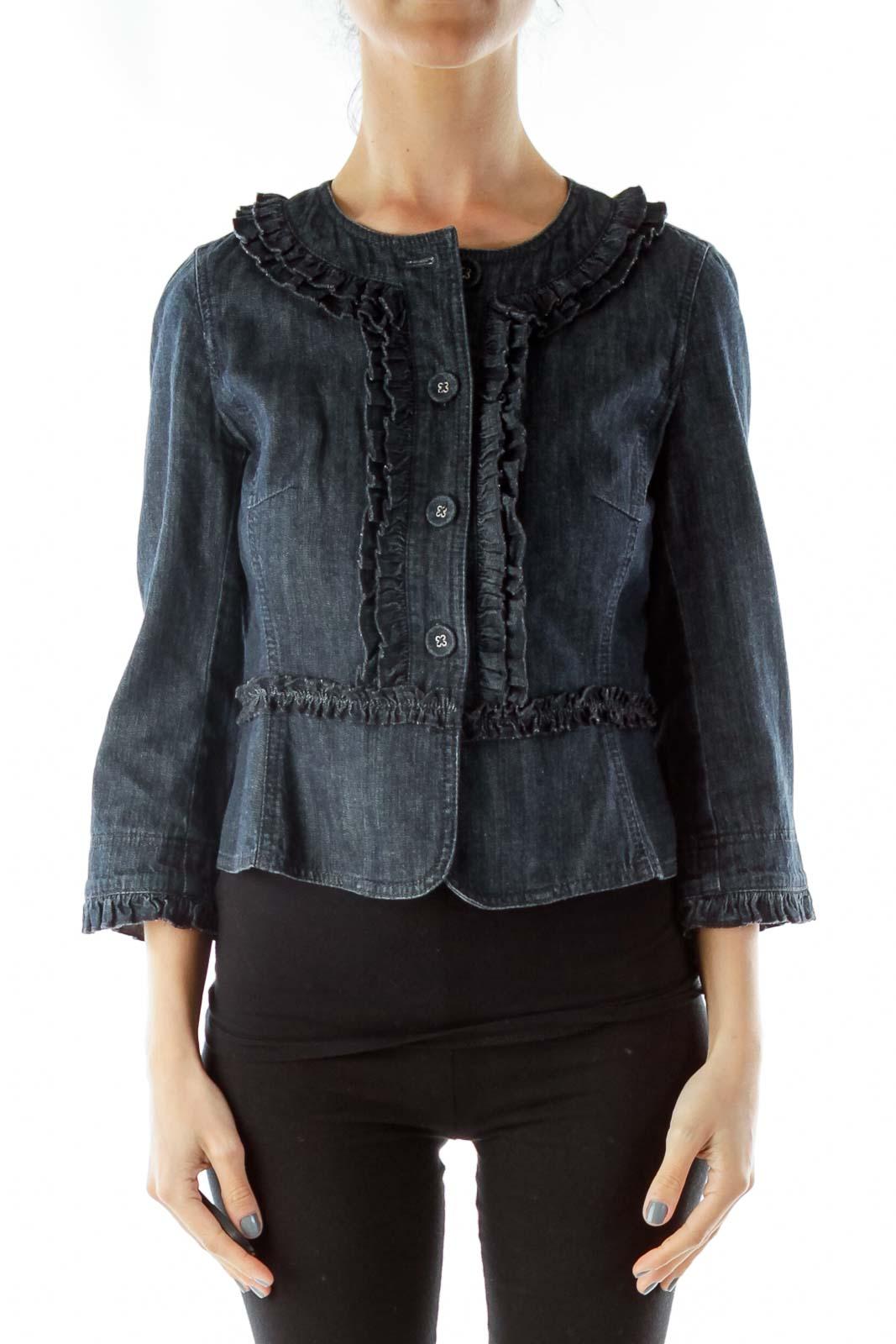 Blue Denim Ruffle Jacket Front