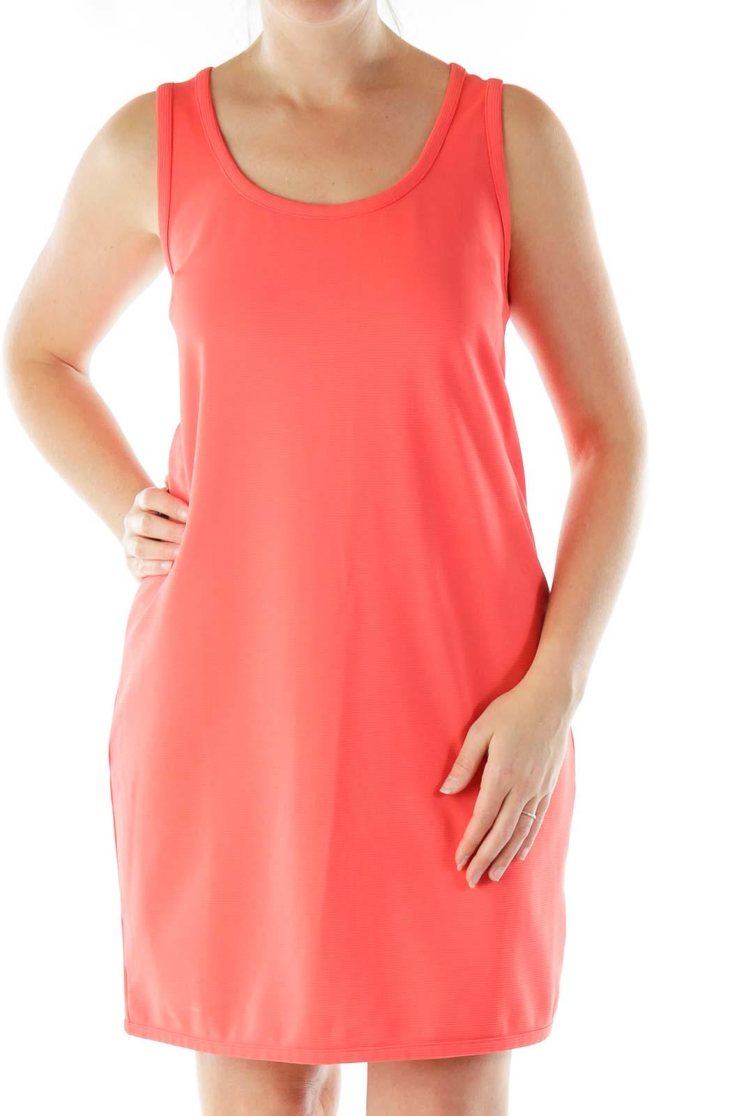 Pink Textured A-Line Dress Front