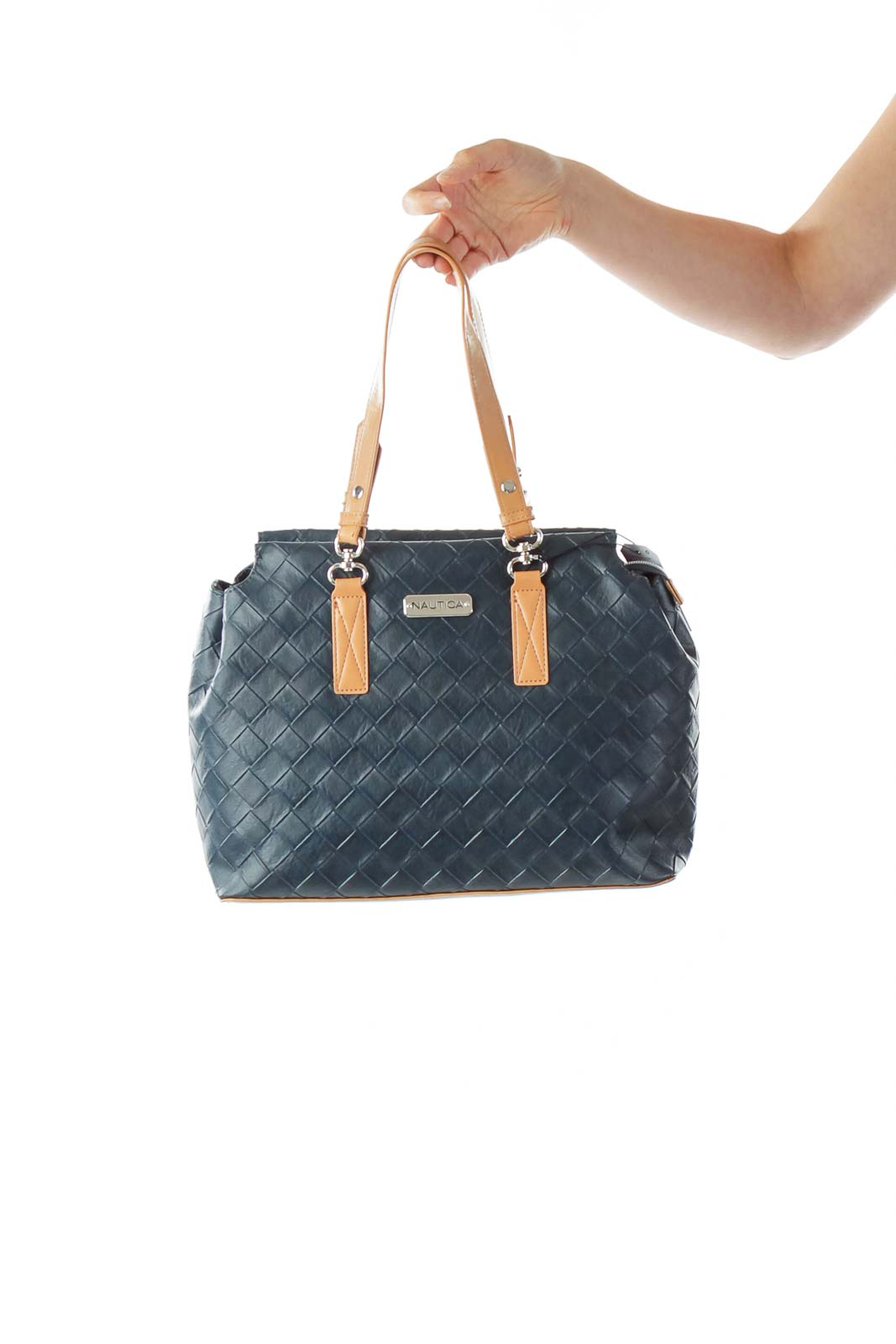 Navy Leather Shoulder Bag Front