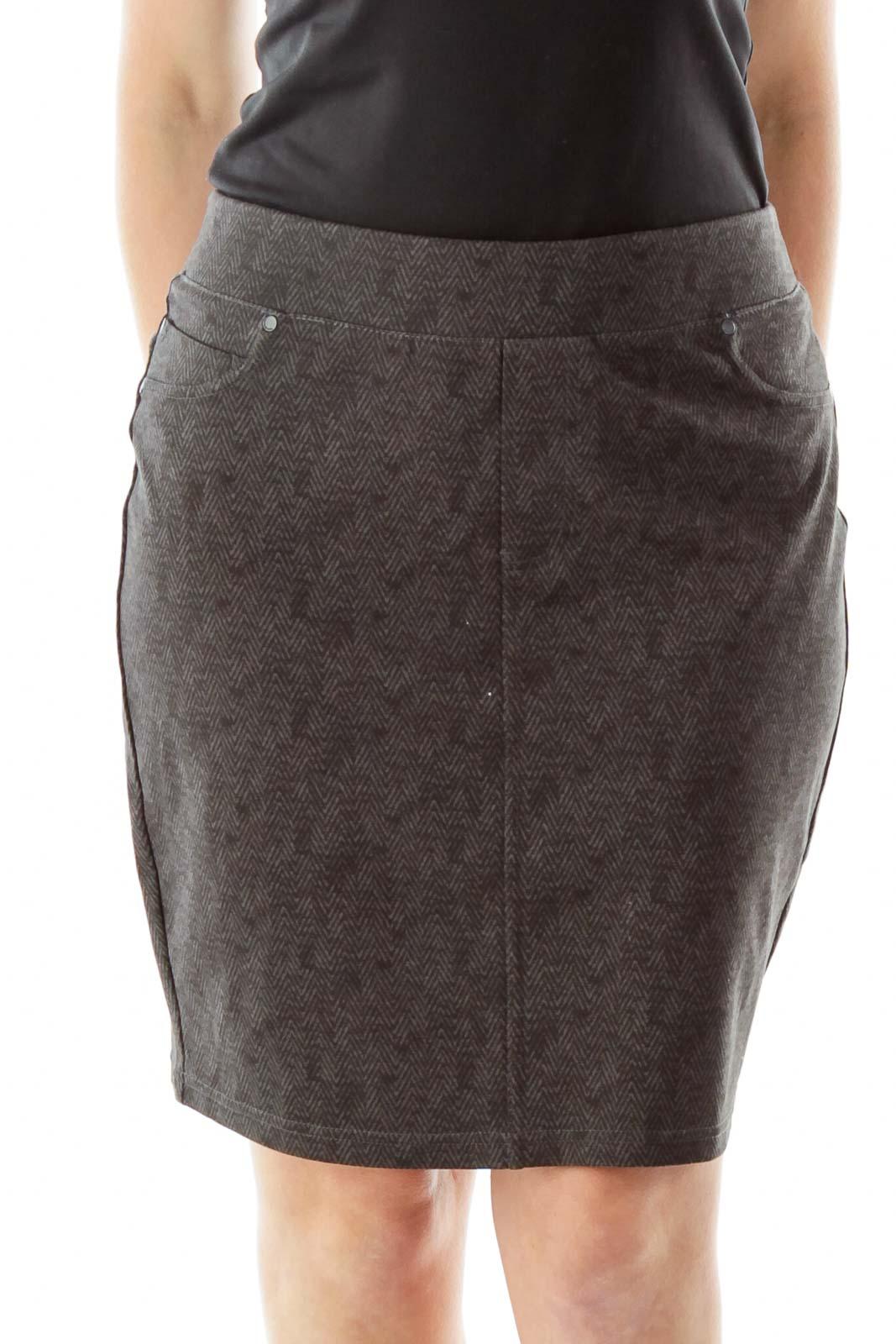 Gray Herringbone Pencil Skirt Front