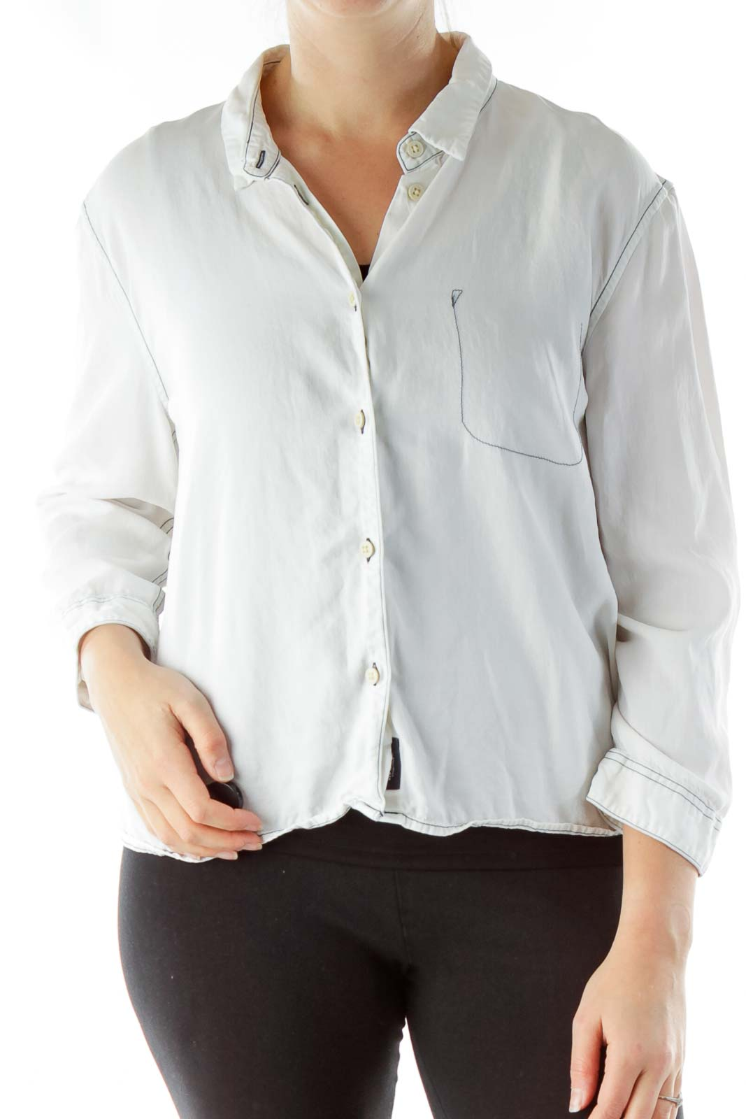 White Buttoned Top Front