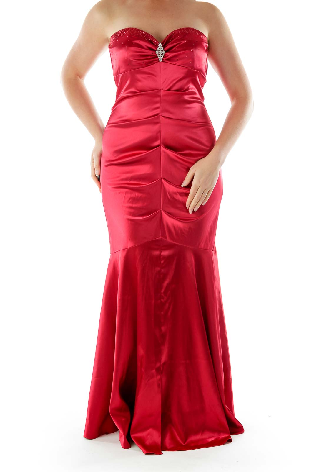 Red Evening Dress with Gem Stones Front