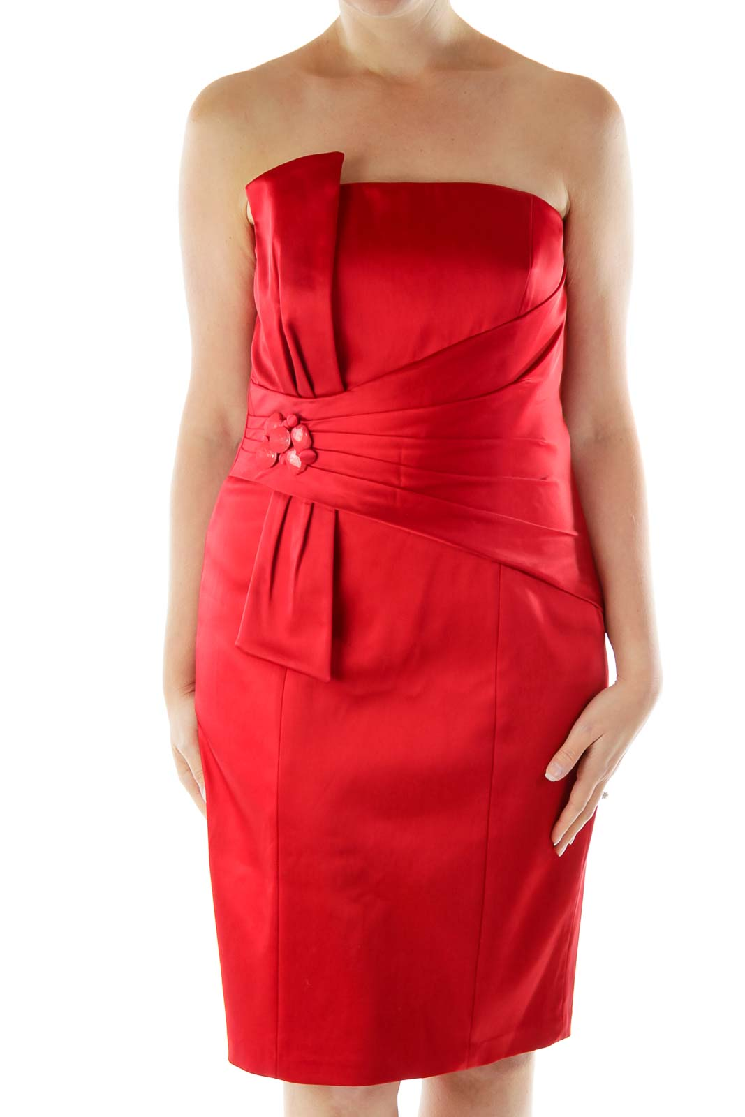 Red Strapless Satin Dress Front
