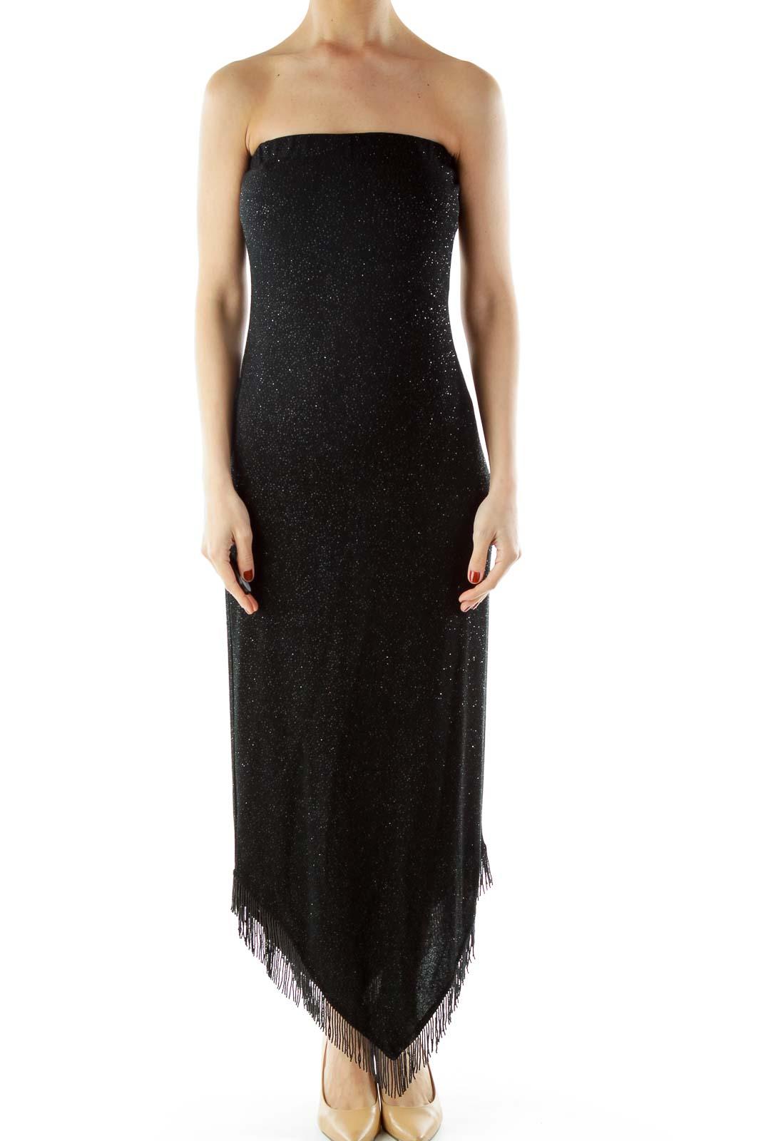 Black Dress with Beaded Fringe Front