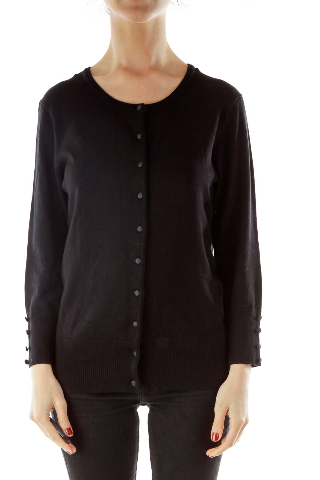 Black Buttoned Cardigan Front